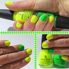 china glaze yellow polka dot bikini  china glaze kiwi cool-ada