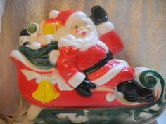 Blow Mold plastic santa on sleigh vintage light. GREAT decor for ugly sweater party! APEACEOFCLOTHING.ETSY.COM -- USE CODE 50FF30 FOR $5 OF A PURCHASE OF $30 OR MORE