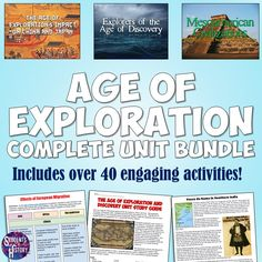 of Exploration Unit Set Age of Exploration and Discovery Activities! A whole unit of amazing lessons on the Age of Exploration!Age of Exploration and Discovery Activities! A whole unit of amazing lessons on the Age of Exploration! World History Map, World History Classroom, World History Teaching, World History Lessons, Social Studies Lesson Plans, Social Studies Resources, Teaching Resources, Teaching Ideas, Middle School History
