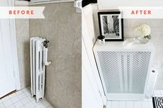 This easy DIY tutorial shows you how to make a radiator cover to cover those unsightly or unused radiators you might have in your home. Home Renovation, Home Improvement Projects, Home Projects, Diy Radiator Cover, Home Radiators, Pallet Accent Wall, Diy Heater, Modern Birdhouses, Small Bedroom Storage