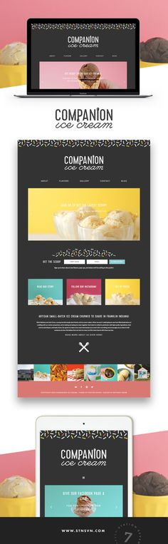 Companion Ice Cream is a fun ice cream shop running on Station Seven's Parker WordPress theme! The theme features a dark background with pops of colors!