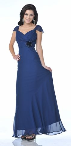 Meier Women's Cap Sleeve Chiffon A Line Gown Bridesmaid Dress Styles, Prom Dresses Blue, Ball Dresses, Pretty Dresses, Choir Dresses, Dresses Dresses, Long Dresses, Wedding Bridesmaids, Wedding Dresses