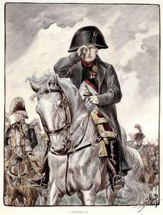 """Superbe illustration de Napoléon dessinée par le talentueux Job. Ce dessin est extrait du livre """"La Vieille Garde impériale"""" de la Maison Alfred Mame et fils."""