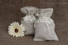 Linen gift bags  Wedding Favor gift bags by lefthandedcraftclub, $12.49