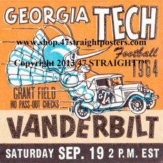 Vintage football. 1964 Georgia Tech Football Ticket Coasters.™ #47straight #football #vintage