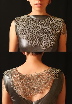 Necklace Japanese lace weave using aluminium jump rings - fluid jewellery design #art