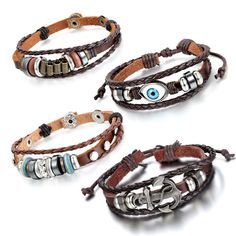 Aroncent 4 PCS Leather Bracelet with Blue Evil Eye, Anchor, Helm, Wing, Adjustable Bangle Black Brown -- Awesome products selected by Anna Churchill