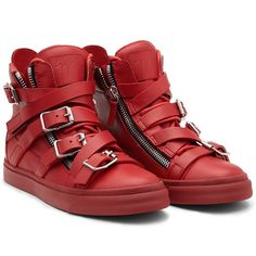 High-top Sneaker in red calfskin with multibuckle decoration. A true urban style masterpiece.