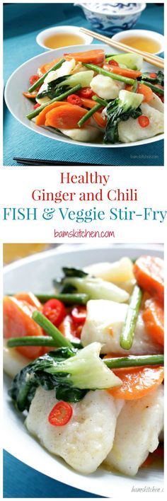 Ginger Chili Fish Stir Fry _ Delicate white fish with vegetables in a deliciously silky sauce. I like to use fresh ginger, garlic, & chili, as using these aromatics fresh tastes better & has more healing power. Serve on its own or with a side of rice. Enjoy!