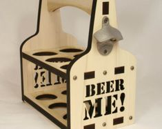Beer Caddy with Bottle Opener - Wooden Bottle Holder Tote, Engraved Wood, Chemistry Drink Beer Periodically, Grad gift - Tailgate - Wedding Magnetic Bottle Opener, Wall Mounted Bottle Opener, Woodworking Wood, Woodworking Projects, Wooden Beer Caddy, Articles En Bois, Wine Bottle Holders, Wood Pallets, Wood Projects