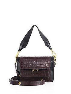 Marni Trunk Croc-Embossed Leather Shoulder Bag - Black-Plum - Size No