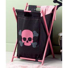 Pink and black skull laundry basket