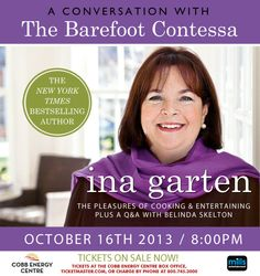 Ticket raffle to see Ina Garten, the Barefoot Contessa.  Stop by any of our shops and register for a chance to win tickets to Ina's show on October 16.  We are giving away 16 tickets.  No purchase necessary to register.  Winners will be randomly selected and notified on Wednesday, October 9.