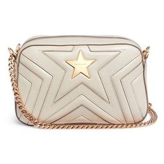Stella McCartney 'Stella Star' quilted faux leather crossbody bag ($955) ❤ liked on Polyvore featuring bags, handbags, shoulder bags, white, quilted purses, white shoulder bag, crossbody purse, stella mccartney crossbody and white purse
