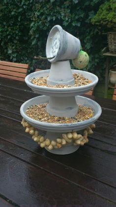 Leuk idee voor de vogels Squirrel Pictures, Backyard Lighting, Bird Food, Backyard Birds, Fauna, Diy Garden Decor, Clay Pots, Yard Art, Bird Houses