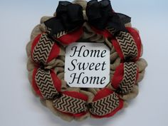 Burlap Wreath with Home Sweet Home Sign, Natural, Red and Black Burlap, Front Door Wreath, Burlap Bow Wreath, Large Home Sweet Home Sign by BeautifulHomeAccents on Etsy