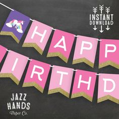 Unicorn Birthday Banner Template DIY by JazzHandsPaperCo on Etsy