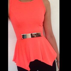 Bright Orange Peplum Tank Top Bright Coral Peplum Top with attached gold belt. Very comfortable and stretchy. No trades. Make an offer.  a'gaci Tops