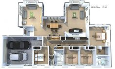 View the Fresco 4 Bedroom House Plan from Generation Homes. 4 Bedroom House Plans, Dream House Plans, House Floor Plans, Computer Nook, Galley Style Kitchen, New Zealand Houses, Bedroom With Ensuite, Big Houses, Kitchen Styling