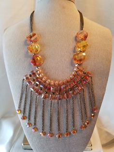 Excited to share the latest addition to my #etsy shop: Amber Waterfall Necklace- (SHA-121) http://etsy.me/2FRNBfs #jewelry #necklace #orange #no #lobsterclaw #bronze #geometric #amberglassbeads #amberandbronze