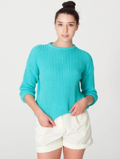 Unisex Fisherman's Pullover in Mint by #AmericanApparel.  #knits #aamodels #Alanna #sweaters
