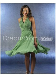 Sexy Ruched A-line V-neck Tea-Length Bridesmaid Dresses http://www.idreamprom.com/sexy-ruched-aline-vneck-tealength-bridesmaid-dresses-p-300207935.html