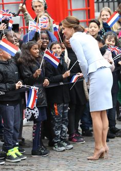 hrhduchesskate:  Visit to the Netherlands, October 11, 2016-The Duchess of Cambridge greets young people in the crowd