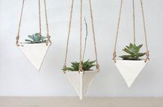 White Porcelain Hanging Triangular Planter Small by ebenotti