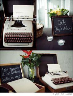 Indie Wedding: Unique Guestbook Ideas. Chalkboard. Typewriter.