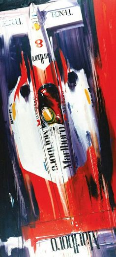 Ayrton Senna piloting his Mclaren-Ford during the 1993 season in this artwork by Camilo Pardo. Senna won 5 races in but finished second in the World Drivers' Championship to Alain Prost, who was driving for the Williams team. Car Posters, Poster S, Mclaren F1, Car Illustration, Automotive Art, Car Painting, Ford Gt, Vintage Racing, Ayrton Senna