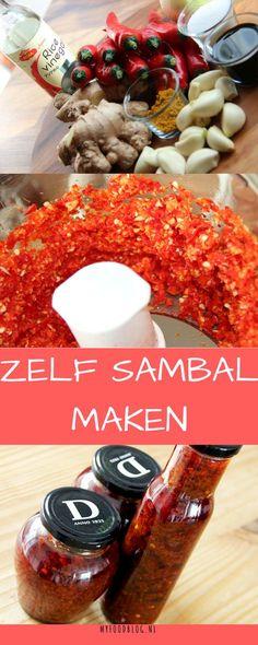   SAMBAL   Zelf sambal badjak maken (pittige sambal) met dit makkelijke recept van myfoodblog.nl Wine Recipes, Asian Recipes, Healthy Recipes, Sambal Recipe, Sambal Oelek, Stuffed Hot Peppers, Food Blogs, I Foods, Food Inspiration