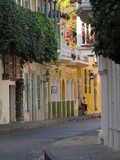 Beautiful colonial streets of Cartagena de Indias, Colombia