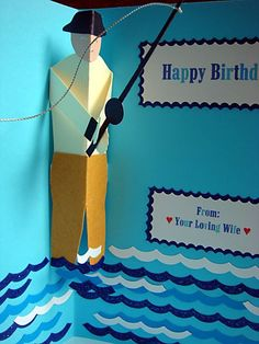 Lin Handmade Greetings Card: Pop up guy catching a fish!