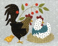 Here a chick, there a chick, everywhere a chick, chick! This is an absolutely darling 36 Motifs Applique Laine, Wool Applique Patterns, Applique Quilts, Applique Designs, Embroidery Applique, Embroidery Patterns, Quilt Patterns, Quilt Kits, Quilt Blocks