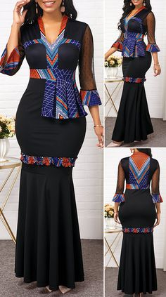 Flare Sleeve Ruffle Hem Mesh Patchwork Maxi Dress - New Site African Fashion Designers, African Fashion Ankara, Latest African Fashion Dresses, African Print Fashion, Dress Fashion, Fashion Fashion, African Dresses For Kids, African Dresses For Women, African Attire