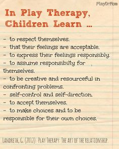 WHAT CHILDREN LEARN IN PLAY THERAPY Maybe you're a parent thinking about giving play therapy a try with your child . Here are some great reminders about what children learn in play therapy through the power of play and nurturing relationship with a play therapist. #playtherapy