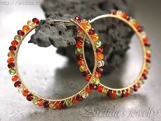 Gemstone jewelry Gemstone hoops Carnelian Citrine by Arctida, $155.00