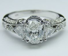 Engagement Ring - Vintage Style Oval Diamond Engagement Ring... - Polyvore