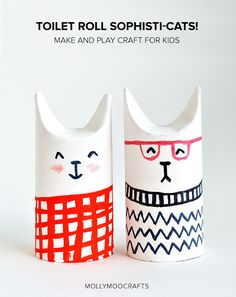 These are adorable! Sophisti-cats, these aren't your mamas TP roll crafts. Kids will love this fresh take on an old-classic, I'm head over heels for the modern design