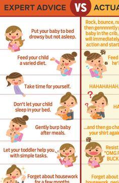 Expert parenting advice vs. actual parenting advice.
