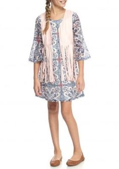 SEQUIN HEARTS girls  Suede Vest and Printed Crochet Dress Set Girls 7-