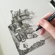 #art #drawing #pen #sketch #illustration #building #architecture #russellcotes #russellcotesmuseum #bournemouth #dorset