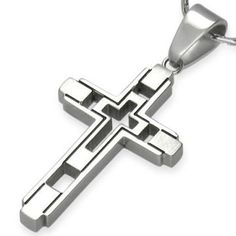 Modern Cross Stainless Steel Pendant by Cuff-Daddy Cuff-Daddy. $24.99. A great religious pendant made from stainless steel. Perfect for Christians, Catholics, etc... Ships in a glossy cardboard box with cotton padding.. Made by Cuff-Daddy