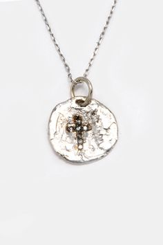 """Hand Made """"Circled Cross"""" Pendant with Necklace in Sterling Silver with Cubic Zirconia Diamonds"""