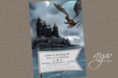Dragon Castle Birthday Party Invitation  by AsYouWishCreations4u, $16.75