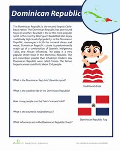 Hispanic Heritage Month Fourth Grade History Comprehension Worksheets: Dominican Republic Facts