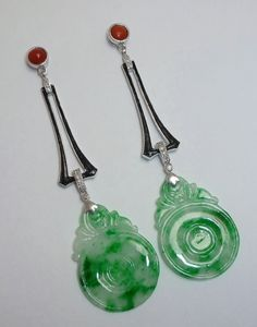 Estate Platinum Jade, Enamel, Coral & DIamond Earrings from beaconhilljewelers on Ruby Lane