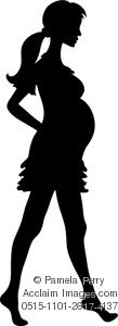Clip Art Illustration of a Barefoot Pregnant Woman in Silhouette