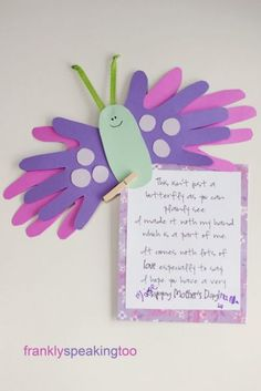 Mother Day Handprint Poem Butterfly – Handprint And Footprint Art  Handprint Crafts For Mothers Day