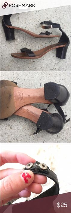 REPOSH: black leather and metal Chloe sandal REPOSH! Black leather and silver metal Chloe sandals! Please read description in last post  Chloe Shoes Sandals